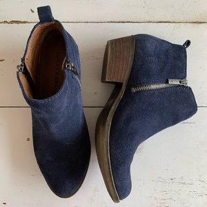 Lucky Brand Blue Suede Booties